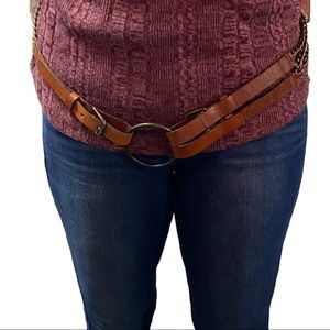 Brown Leather 3 buckle chain Waist Hip belt